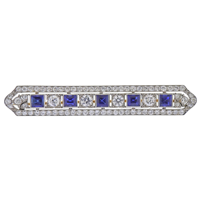 Tiffany & Co. Art Deco Diamond Sapphire Platinum Gold Bar Brooch