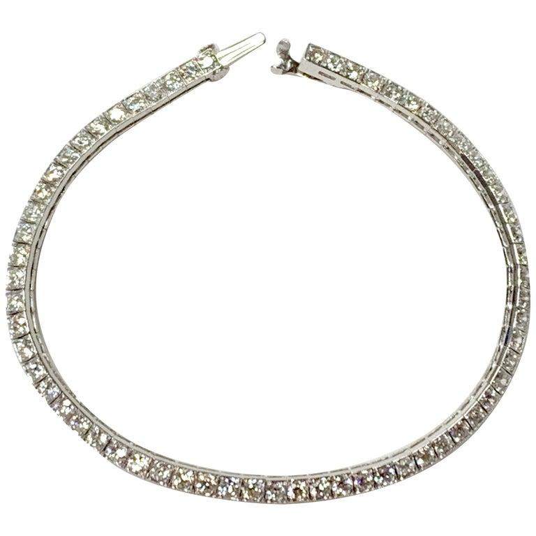 Tiffany & Co. Art Deco Diamond Straight Line Bracelet in Platinum For Sale