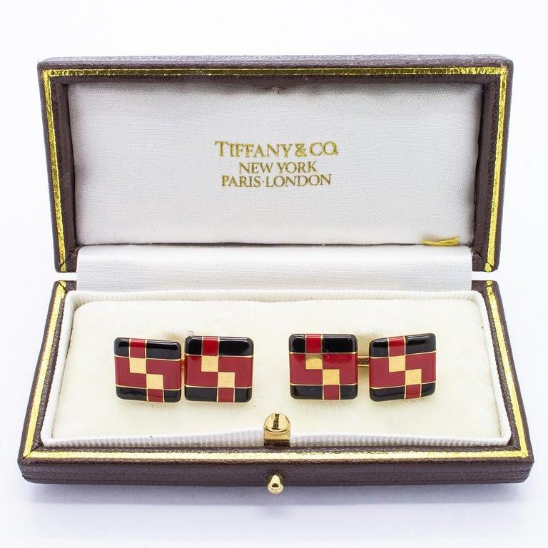 Tiffany & Co. Art Deco Enamel Cufflinks For Sale 1