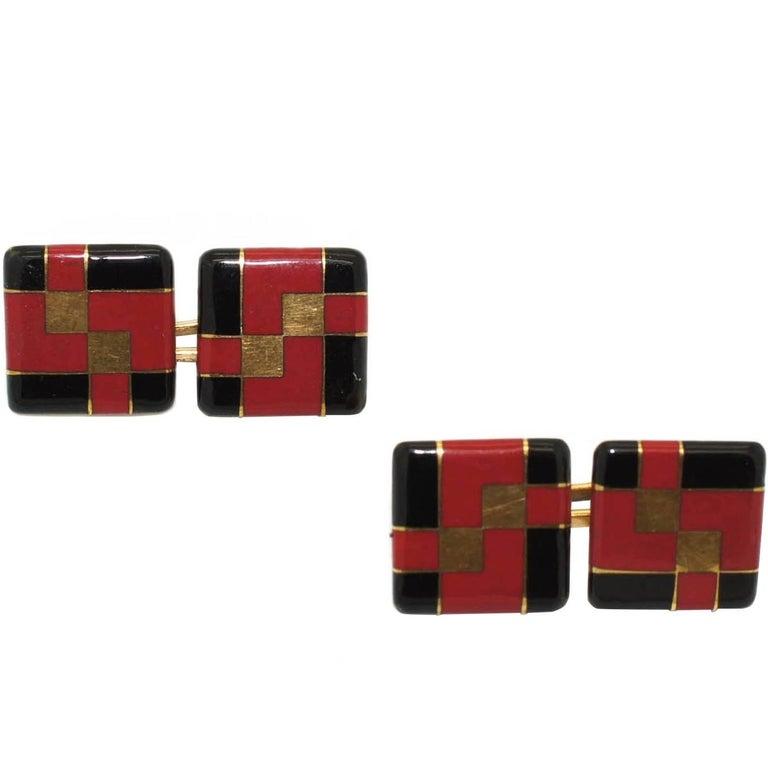 Tiffany & Co. Art Deco Enamel Cufflinks For Sale 2