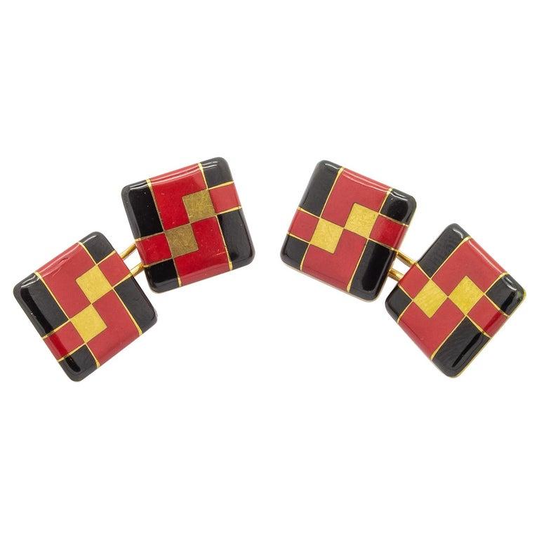 Tiffany & Co. Art Deco Enamel Cufflinks For Sale