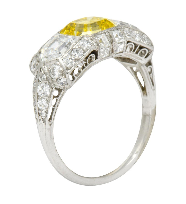 Tiffany & Co. Art Deco Fancy Vivid Yellow Diamond Platinum Cocktail Ring GIA For Sale 5