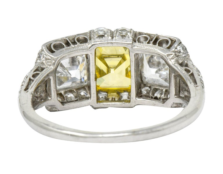 Tiffany & Co. Art Deco Fancy Vivid Yellow Diamond Platinum Cocktail Ring GIA In Excellent Condition For Sale In Philadelphia, PA