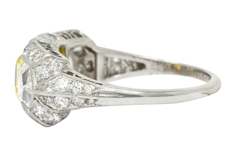Women's or Men's Tiffany & Co. Art Deco Fancy Vivid Yellow Diamond Platinum Cocktail Ring GIA For Sale