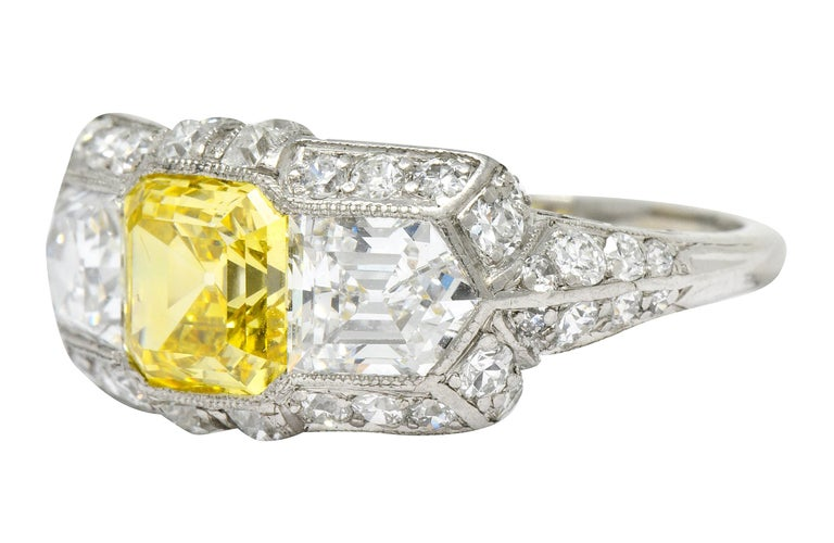 Tiffany & Co. Art Deco Fancy Vivid Yellow Diamond Platinum Cocktail Ring GIA For Sale 1