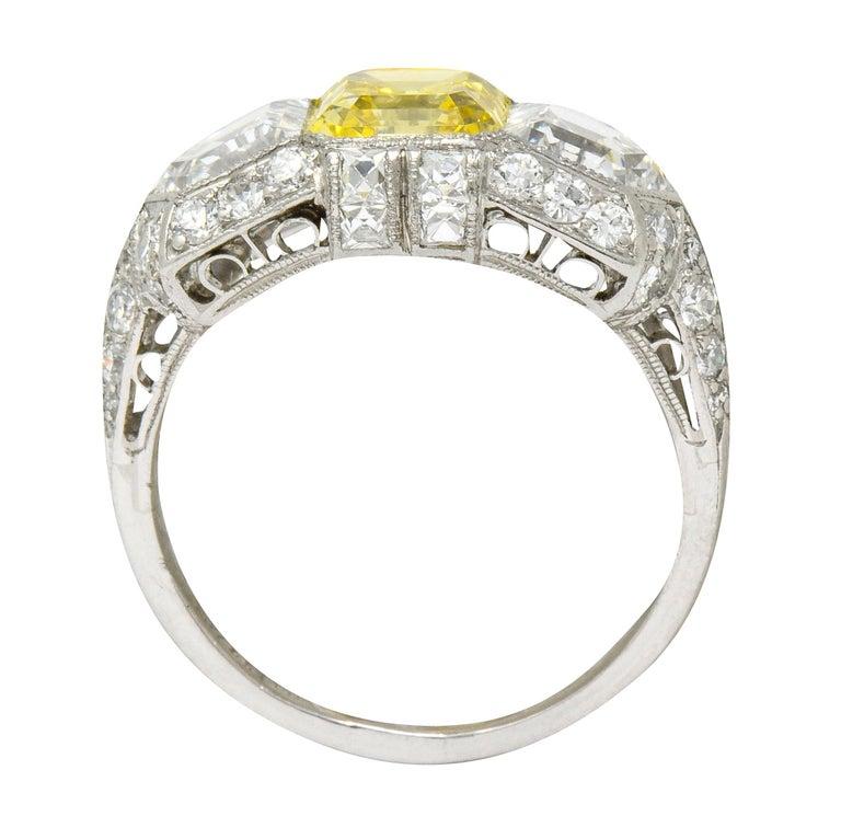 Tiffany & Co. Art Deco Fancy Vivid Yellow Diamond Platinum Cocktail Ring GIA For Sale 4