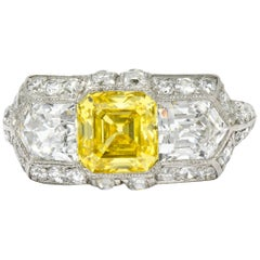 Tiffany & Co. Art Deco Fancy Vivid Yellow Diamond Platinum Cocktail Ring GIA