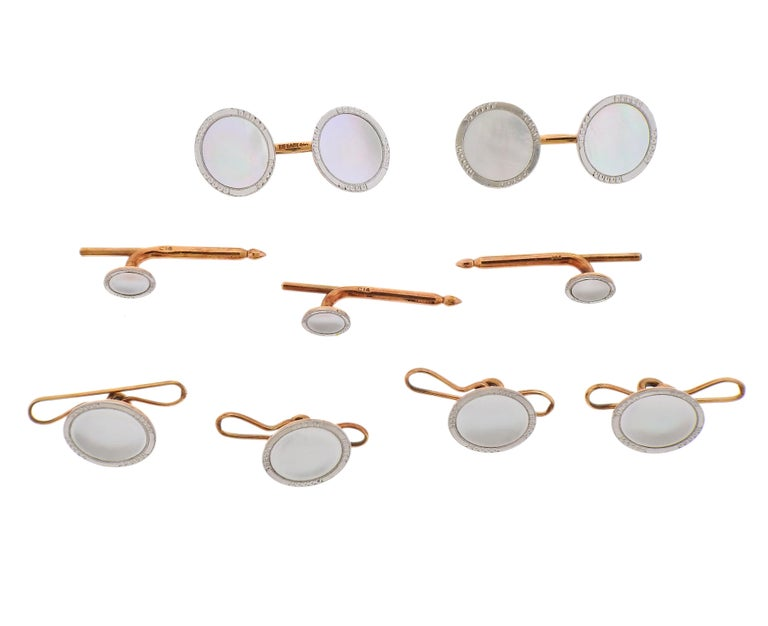 Tiffany & Co. Art Deco Gold Platinum Mother of Pearl Cufflinks Stud Set In Excellent Condition For Sale In New York, NY
