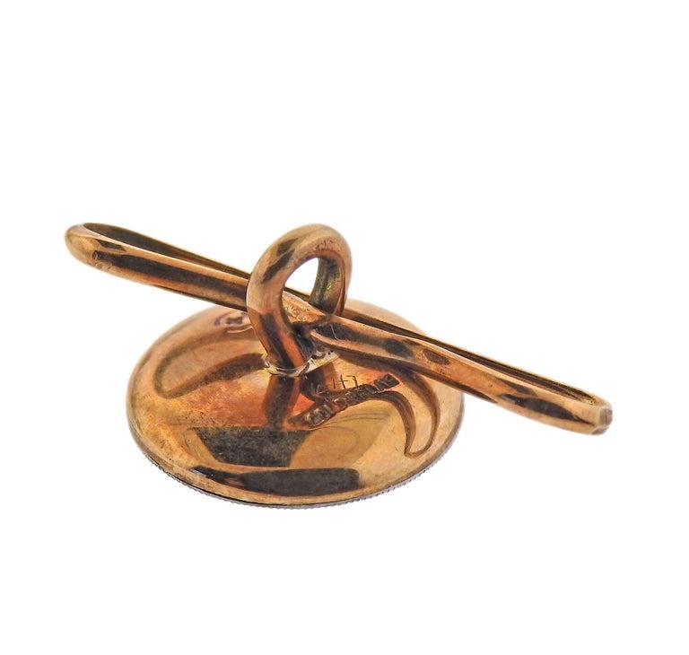 Men's Tiffany & Co. Art Deco Gold Platinum Mother of Pearl Cufflinks Stud Set For Sale