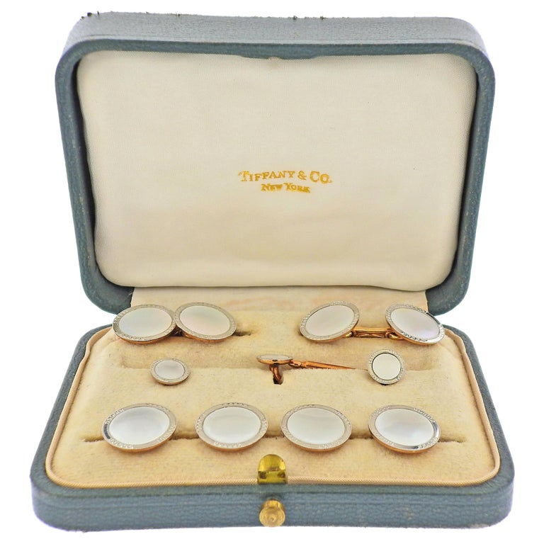 Tiffany & Co. Art Deco Gold Platinum Mother of Pearl Cufflinks Stud Set For Sale
