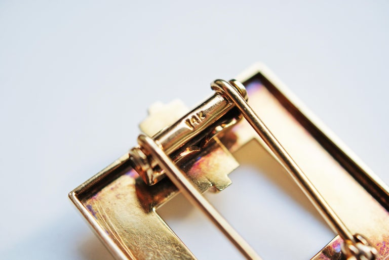 Women's or Men's Tiffany & Co. Art Deco Gold Square Clip Brooch For Sale