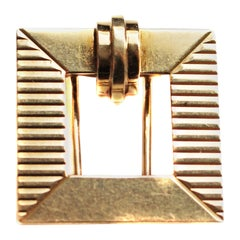 Tiffany & Co. Art Deco Gold Square Clip Brooch