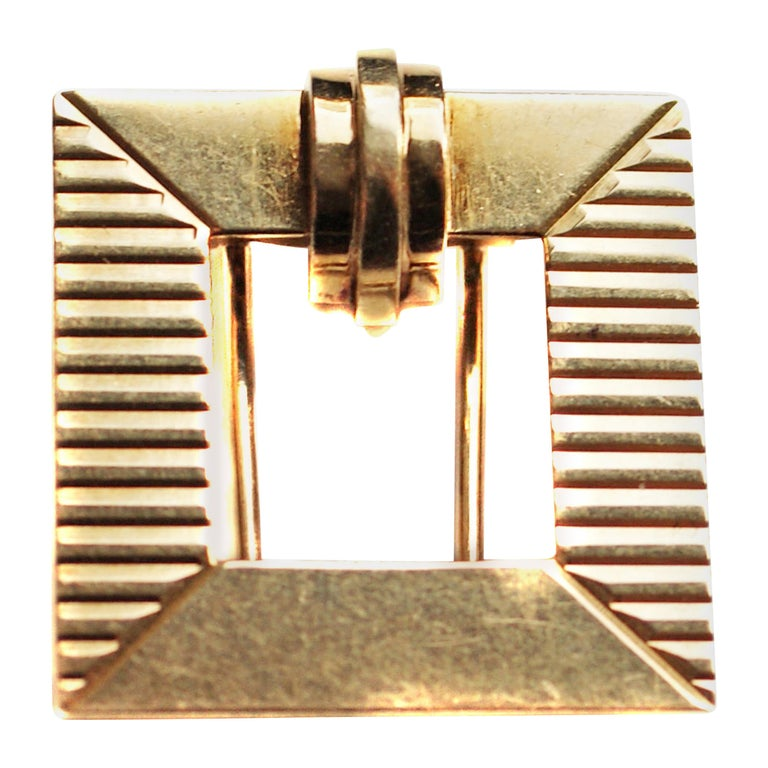 Tiffany & Co. Art Deco Gold Square Clip Brooch For Sale