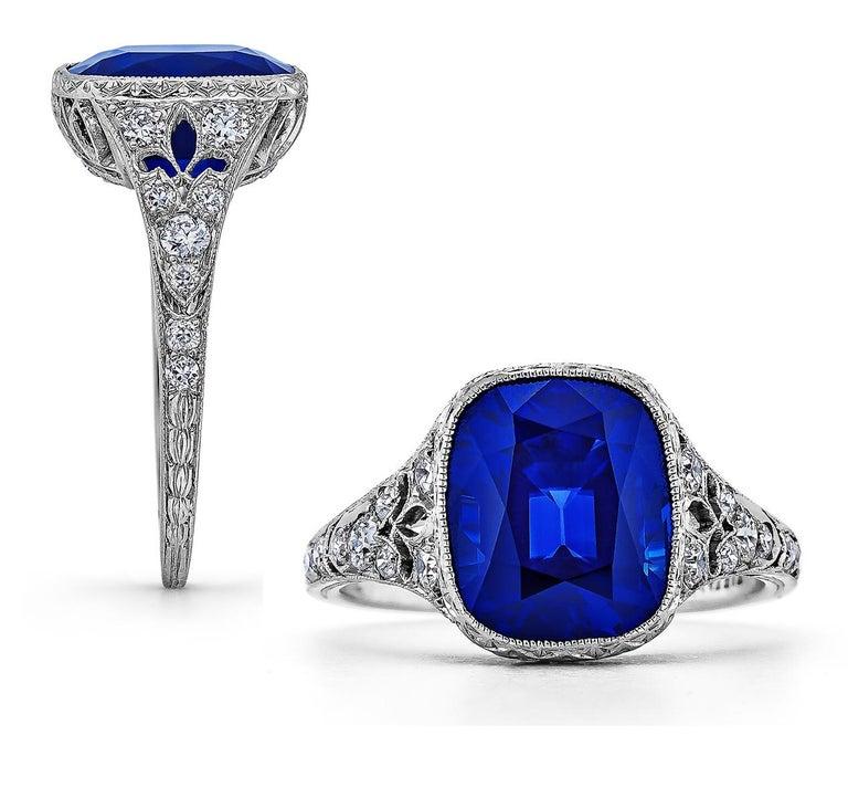 Antique Cushion Cut Tiffany & Co. Art Deco Kashmir Sapphire Diamond Platinum Ring For Sale