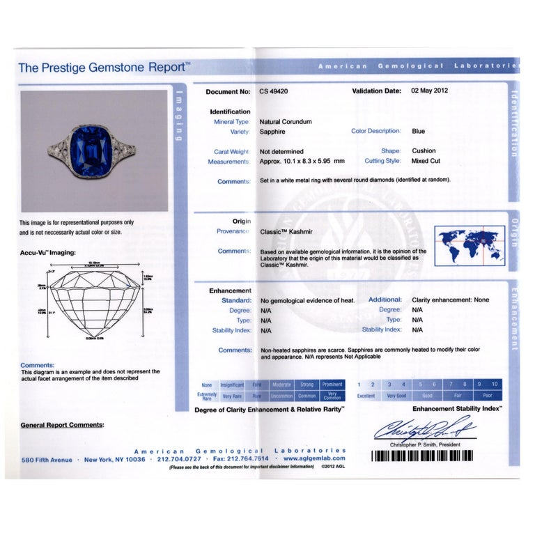 Tiffany & Co. Art Deco Kashmir Sapphire Diamond Platinum Ring In Excellent Condition For Sale In Greenwich, CT