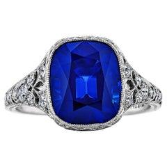Tiffany & Co. Art Deco Kashmir Sapphire Diamond Platinum Ring