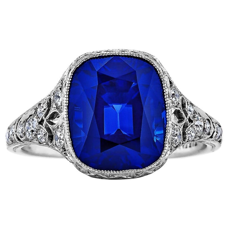 Tiffany & Co. Art Deco Kashmir Sapphire Diamond Platinum Ring For Sale