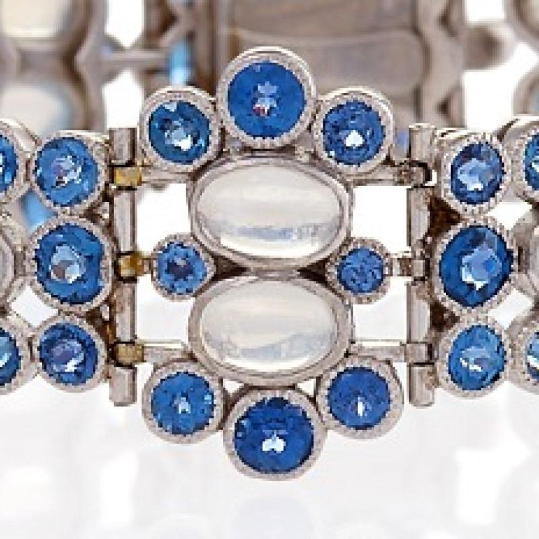 Tiffany and Co  Art Deco Moonstone, Montana Sapphire and