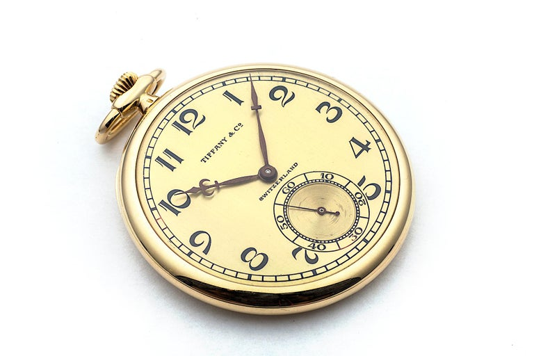 Women's or Men's Tiffany & Co. Art Deco Open Face Yellow Gold Pocket Watch For Sale