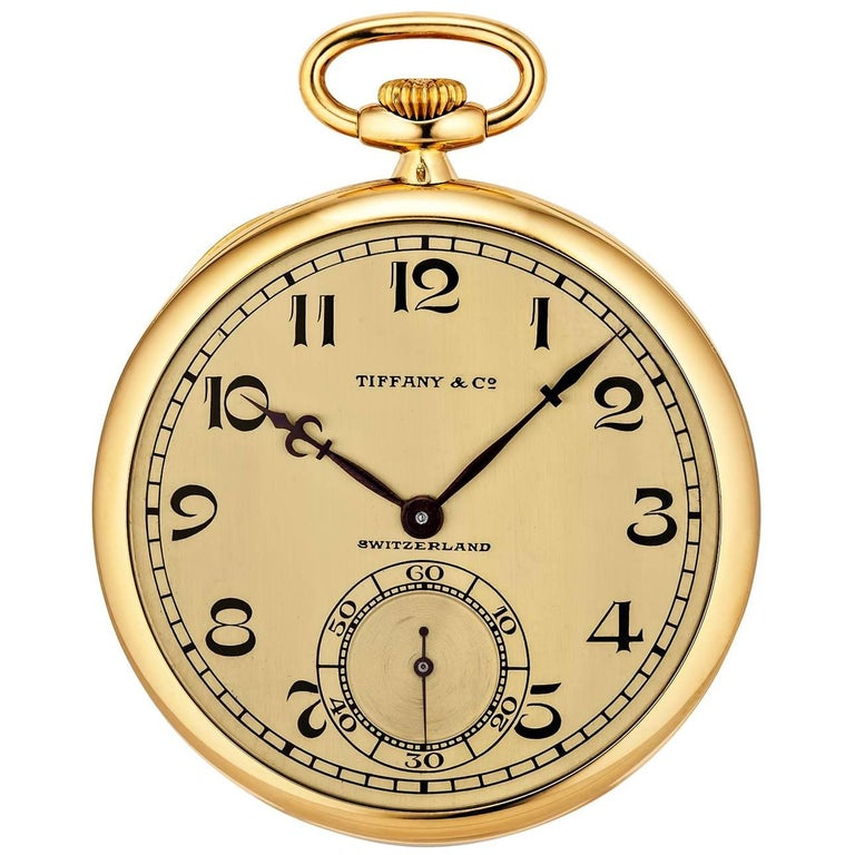 Tiffany & Co. Art Deco Open Face Yellow Gold Pocket Watch For Sale