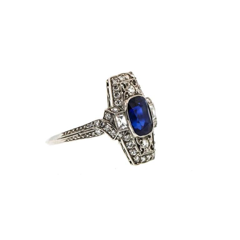 f77328c9b A rare and pristine Art Deco cushion sapphire platinum diamond ring by  Tiffany & Co.