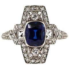 Tiffany & Co. Art Deco Platinum Cushion Sapphire Diamond Ring
