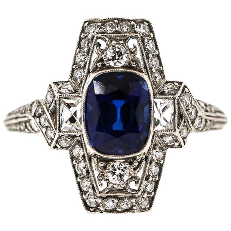 4ac49b70b Tiffany and Co. Art Deco Platinum Cushion Sapphire Diamond Ring For Sale at  1stdibs