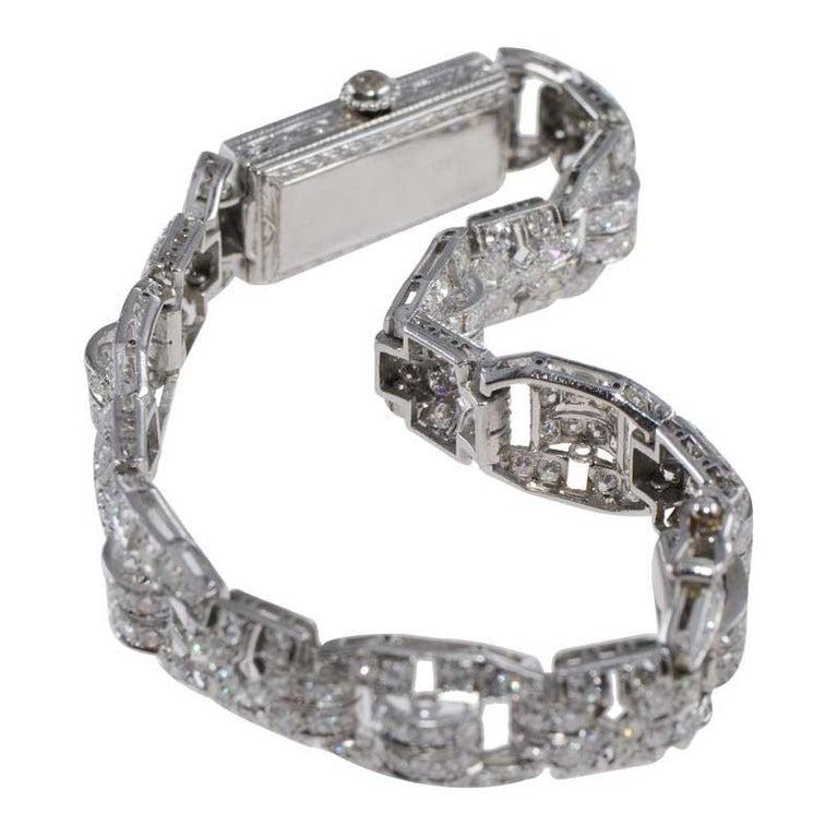 Tiffany & Co. Art Deco Platinum Diamond Manual Winding Dress Watch Circa 1930's For Sale 5