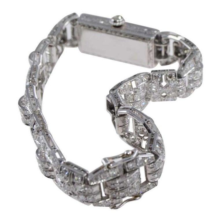 Tiffany & Co. Art Deco Platinum Diamond Manual Winding Dress Watch Circa 1930's For Sale 6