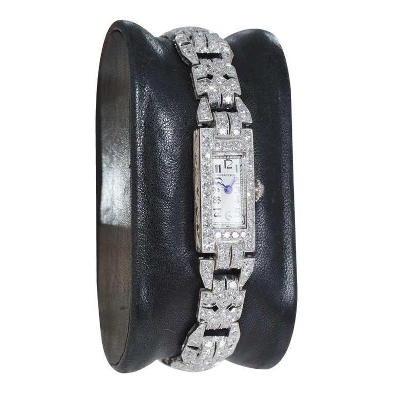 Round Cut Tiffany & Co. Art Deco Platinum Diamond Manual Winding Dress Watch Circa 1930's For Sale