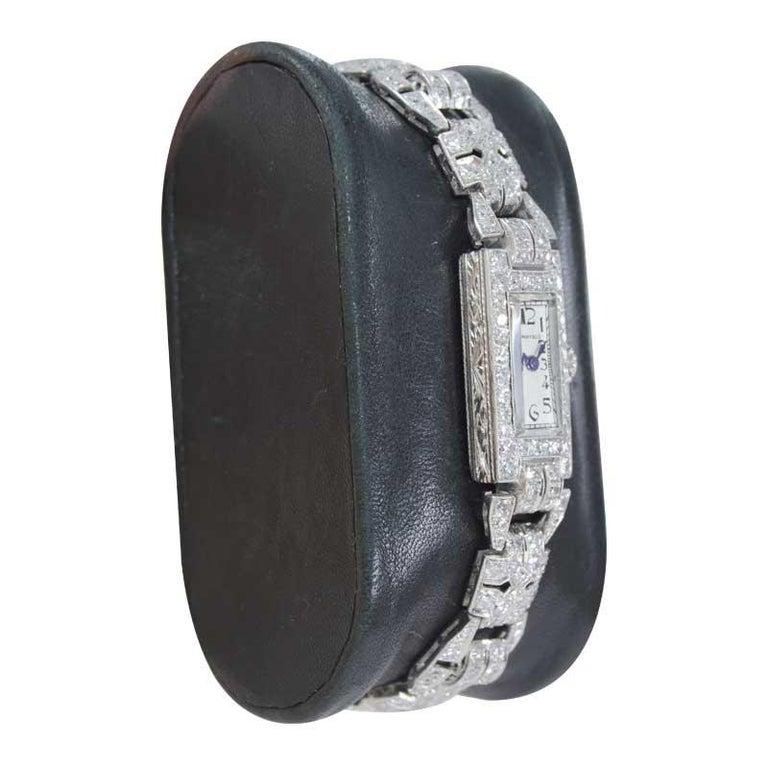 Women's Tiffany & Co. Art Deco Platinum Diamond Manual Winding Dress Watch Circa 1930's For Sale