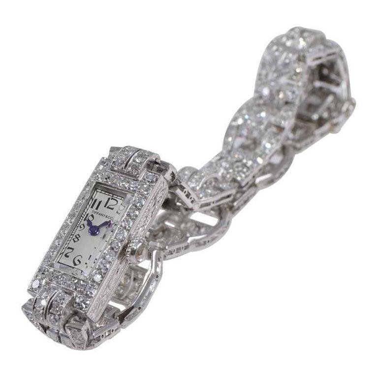 Tiffany & Co. Art Deco Platinum Diamond Manual Winding Dress Watch Circa 1930's For Sale 1