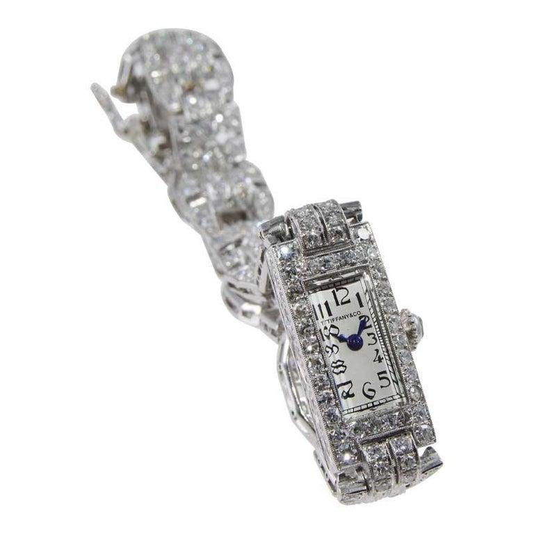 Tiffany & Co. Art Deco Platinum Diamond Manual Winding Dress Watch Circa 1930's For Sale 2