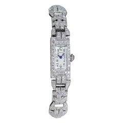 Tiffany & Co. Art Deco Platinum Diamond Manual Winding Dress Watch Circa 1930's