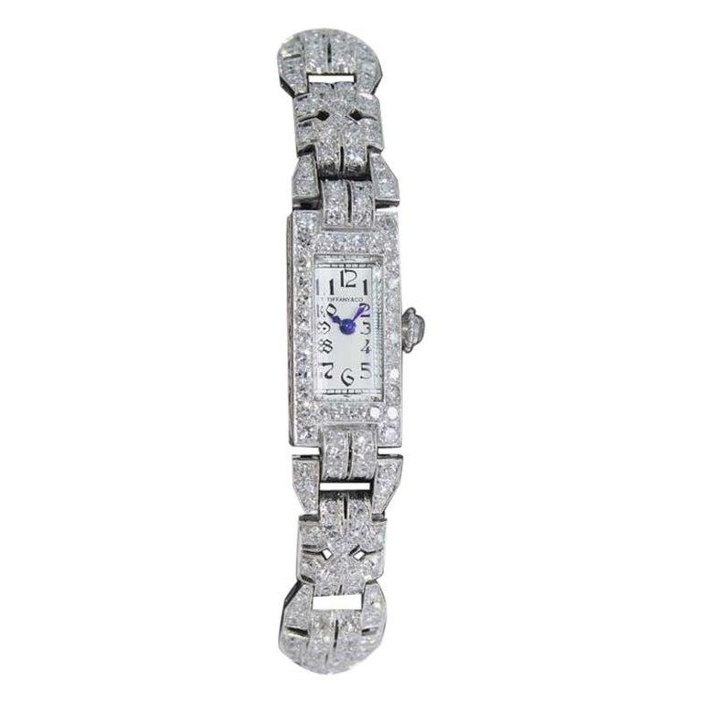 Tiffany & Co. Art Deco Platinum Diamond Manual Winding Dress Watch Circa 1930's For Sale