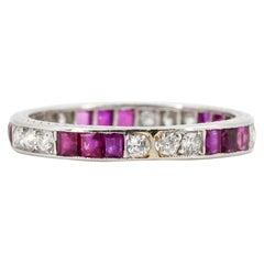 Tiffany & Co. Art Deco Ruby, Diamond and Platinum Band