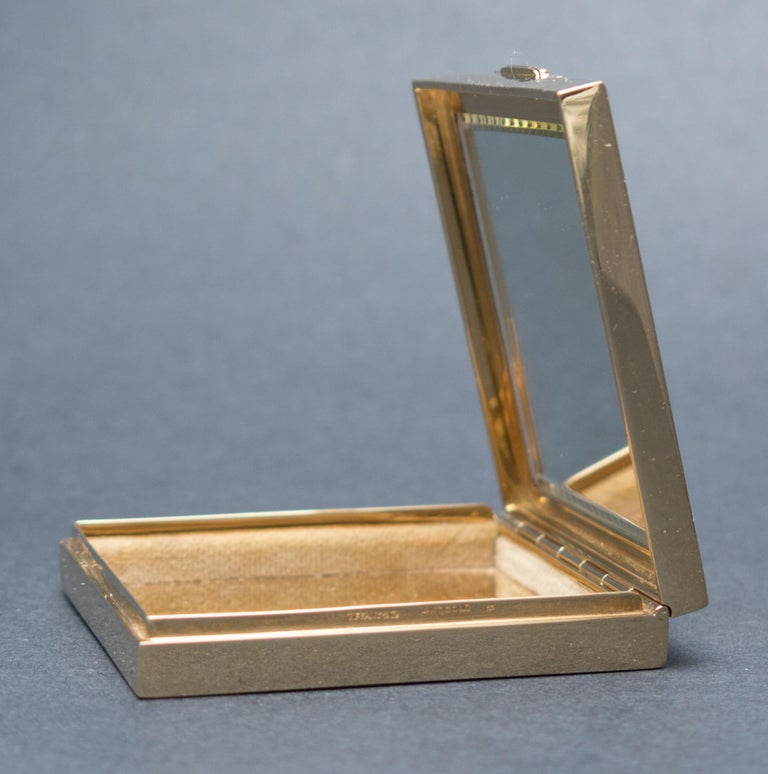 Women's Tiffany & Co. Art Deco Ruby Gold Compact Box For Sale