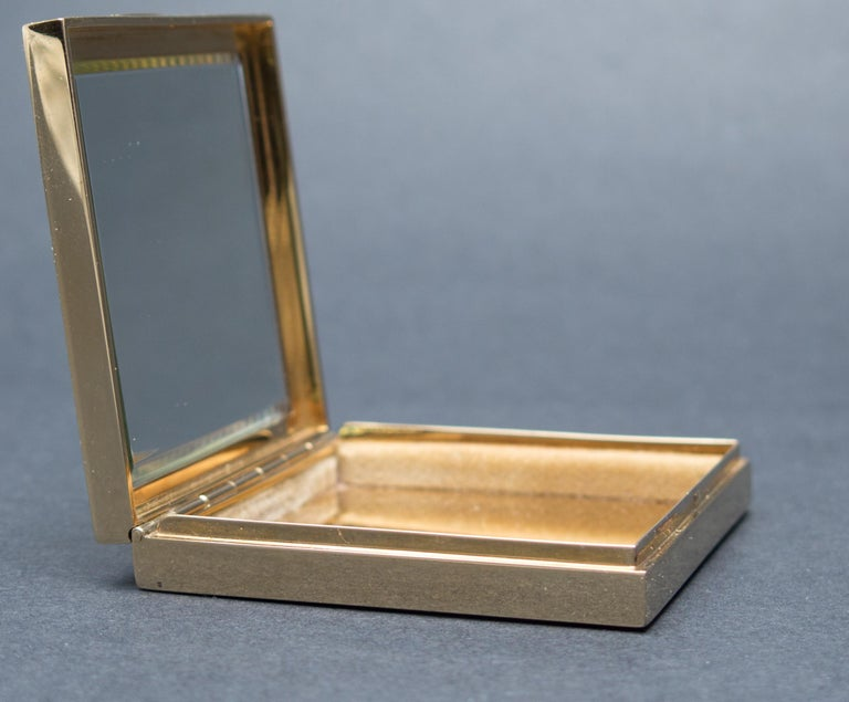 Tiffany & Co. Art Deco Ruby Gold Compact Box For Sale 3