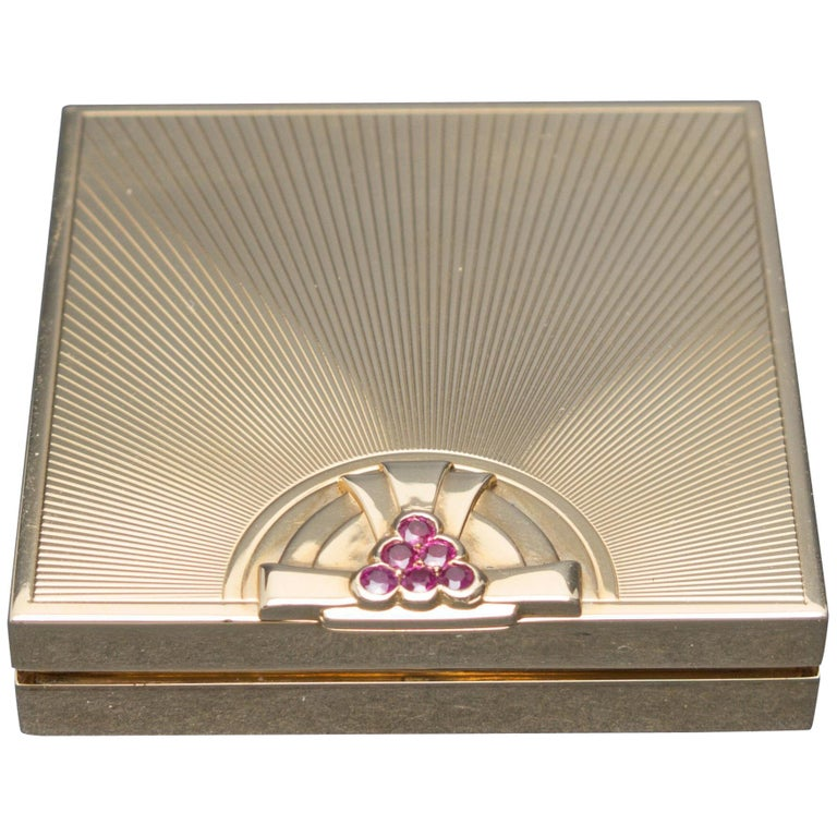 Tiffany & Co. Art Deco Ruby Gold Compact Box For Sale