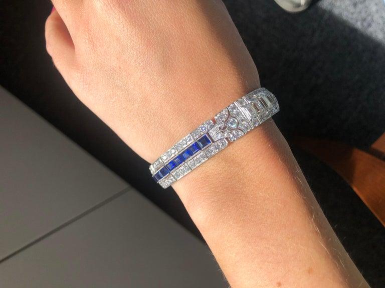 Tiffany & Co Art Deco Sapphire and Diamond Bracelet For Sale 6