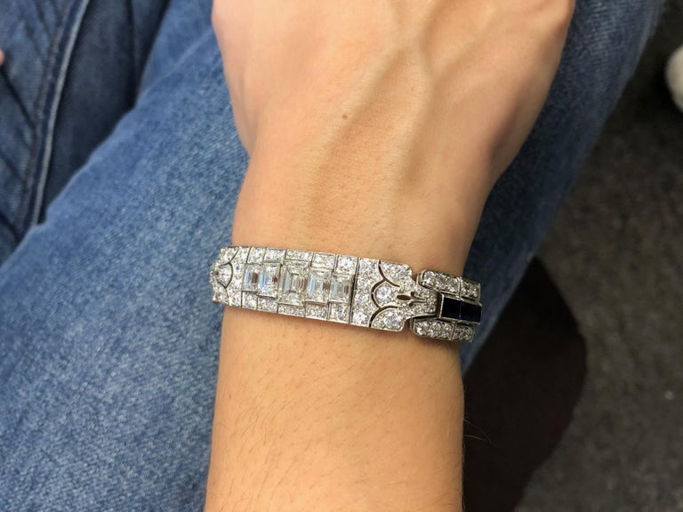 Tiffany & Co Art Deco Sapphire and Diamond Bracelet For Sale 7