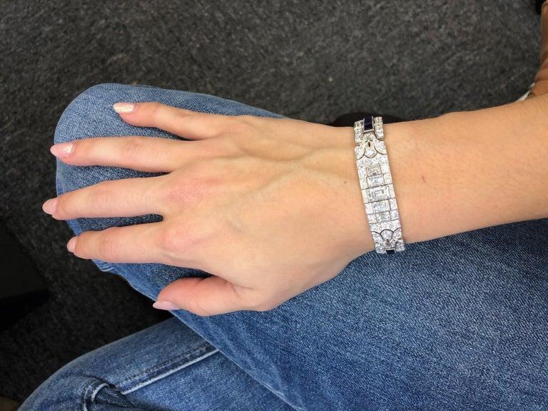 Tiffany & Co Art Deco Sapphire and Diamond Bracelet For Sale 8