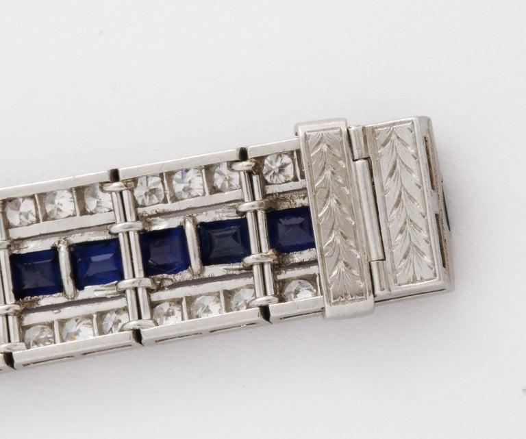 Tiffany & Co Art Deco Sapphire and Diamond Bracelet For Sale 1