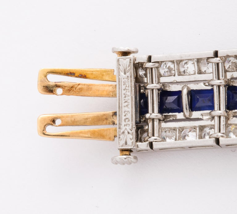 Tiffany & Co Art Deco Sapphire and Diamond Bracelet For Sale 2