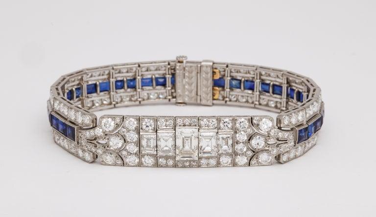 Tiffany & Co Art Deco Sapphire and Diamond Bracelet For Sale 3