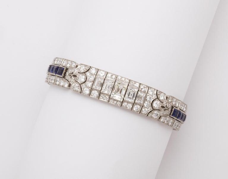 Tiffany & Co Art Deco Sapphire and Diamond Bracelet For Sale 4