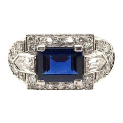 Tiffany & Co. Art Deco Sapphire, Diamond and Platinum Ring
