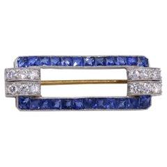 Tiffany & Co. Art Deco Sapphire Diamond Brooch