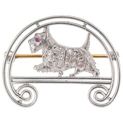 Tiffany & Co. Art Deco Scottie Dog Platinum Brooch