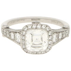Tiffany & Co. Art Deco Style Legacy Asscher Diamond Engagement Ring in Platinum